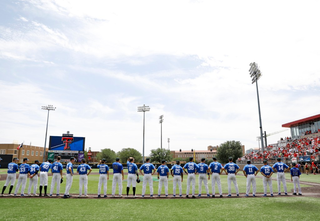 Duke players line up before an NCAA college baseball tournament super regional game against Texas Tech, Saturday, June 9, 2018, in Lubbock, Texas. [Brad Tollefson/A-J Media]