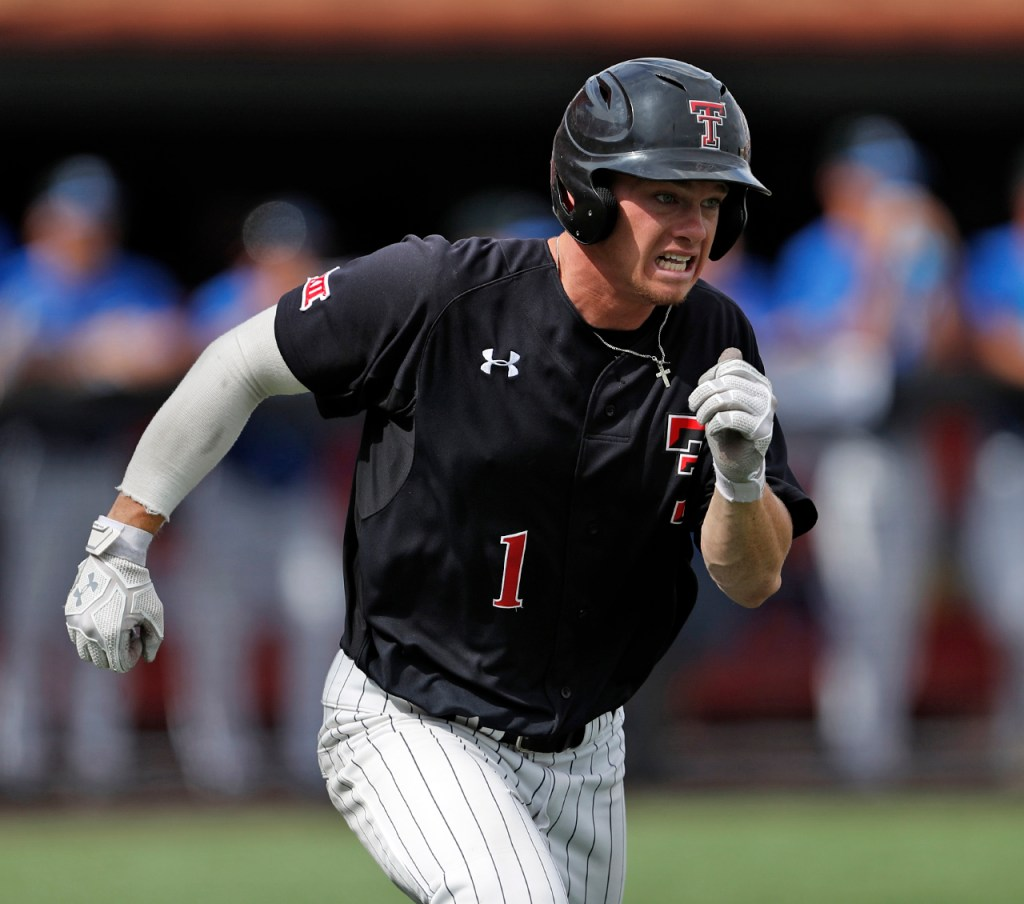 Texas Tech's Cody Farhat (1) runs to first base during an NCAA college baseball tournament super regional game against Duke, Saturday, June 9, 2018, in Lubbock, Texas. [Brad Tollefson/A-J Media]