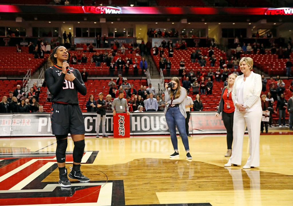 Texas Tech's Zuri Sanders (30) thanks the crowd after an NCAA college basketball game against Oklahoma, Tuesday, March 5, 2019, in Lubbock, Texas. [Brad Tollefson/A-J Media]