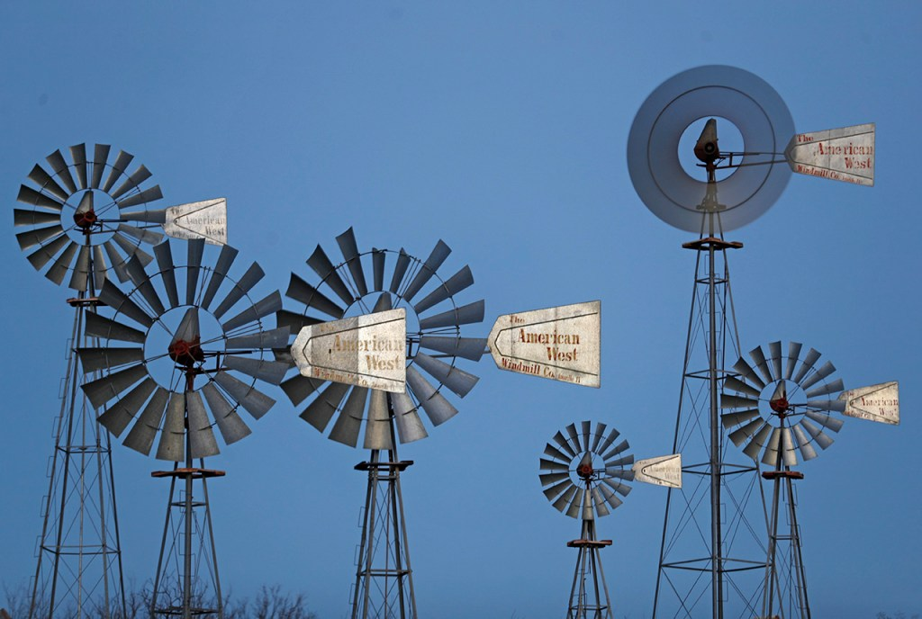 A grouping of classic American West windmills at the American Windmill Museum, Thursday, March 14, 2019, in Lubbock, Texas. (Brad Tollefson)