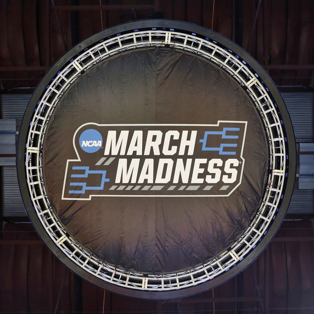 The March Madness logo on the scoreboard before the NCAA tournament second round game between Texas Tech and Buffalo, Sunday, March 24, 2019, at BOK Center in Tulsa, Okla. [Brad Tollefson/A-J Media]