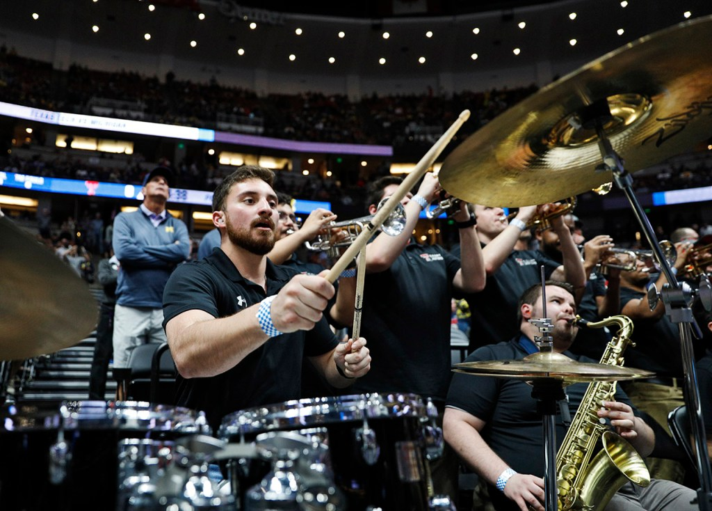 Jarrett Butler, from McKinney, plays the drums with the Goin' Band before the NCAA tournament Sweet 16 game against Michigan, Thursday, March 28, 2019, at Honda Center in Anaheim, Calif. [Brad Tollefson/A-J Media]