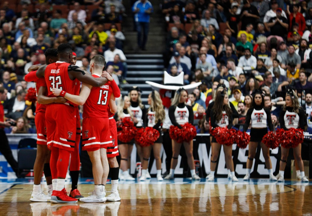 Texas Tech starters huddle together before the NCAA tournament Sweet 16 game against Michigan, Thursday, March 28, 2019, at Honda Center in Anaheim, Calif. [Brad Tollefson/A-J Media]
