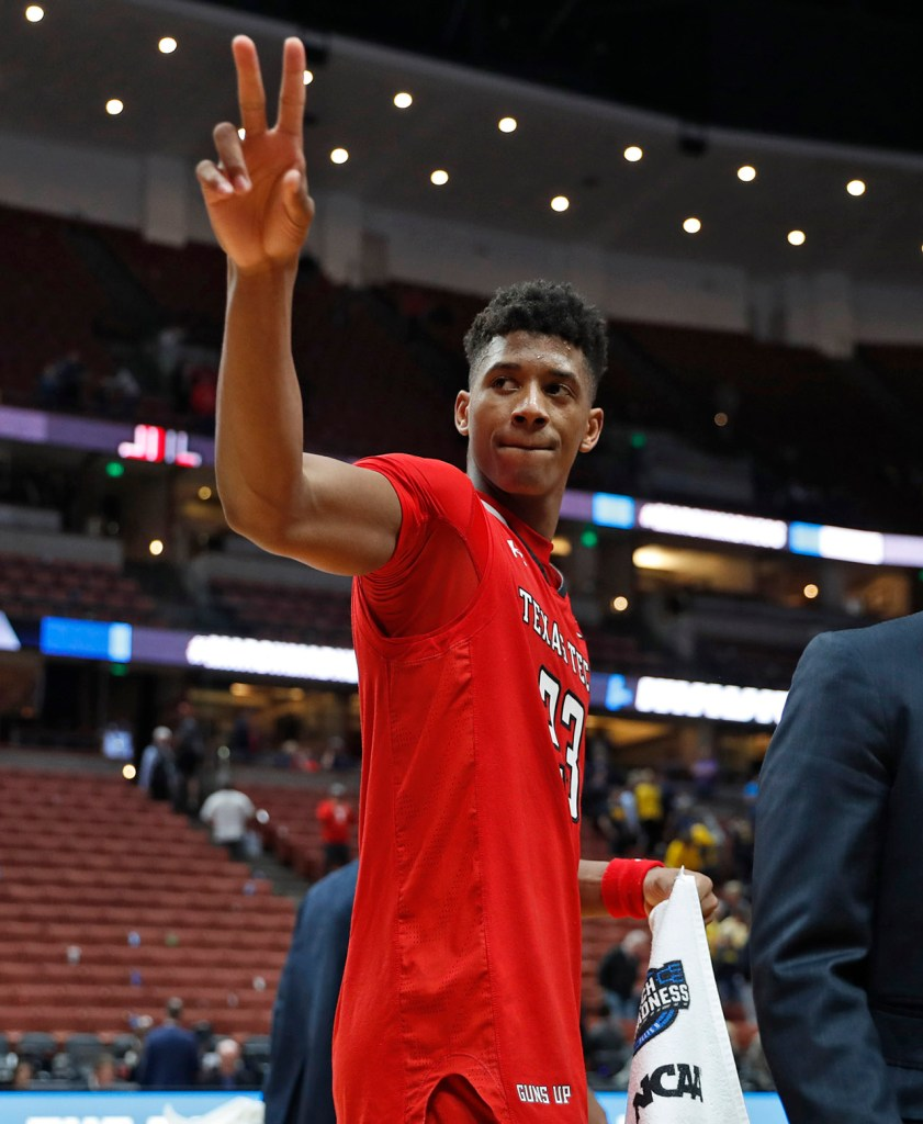 Texas Tech's Jarrett Culver (23) waves to the crowd after the NCAA tournament Sweet 16 game against Michigan Thursday, March 28, 2019, at Honda Center in Anaheim, Calif. [Brad Tollefson/A-J Media]