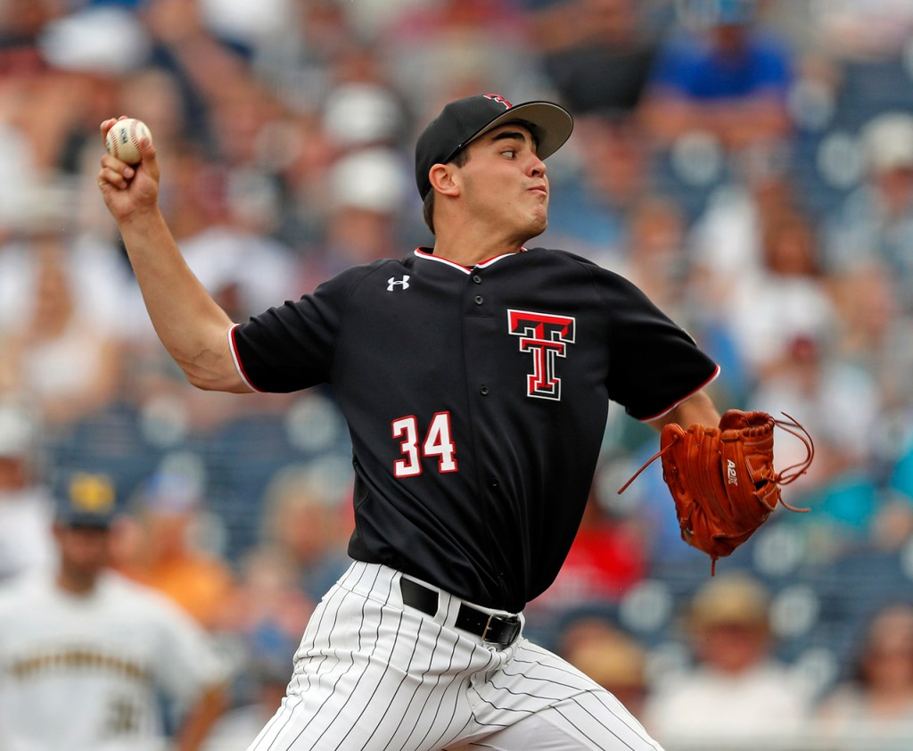 Texas Tech's Micah Dallas (34) pitches the ball during the College World Series game against Michigan, Saturday, June 15, 2019, at TD Ameritrade Park in Omaha, Neb. [Brad Tollefson/A-J Media]