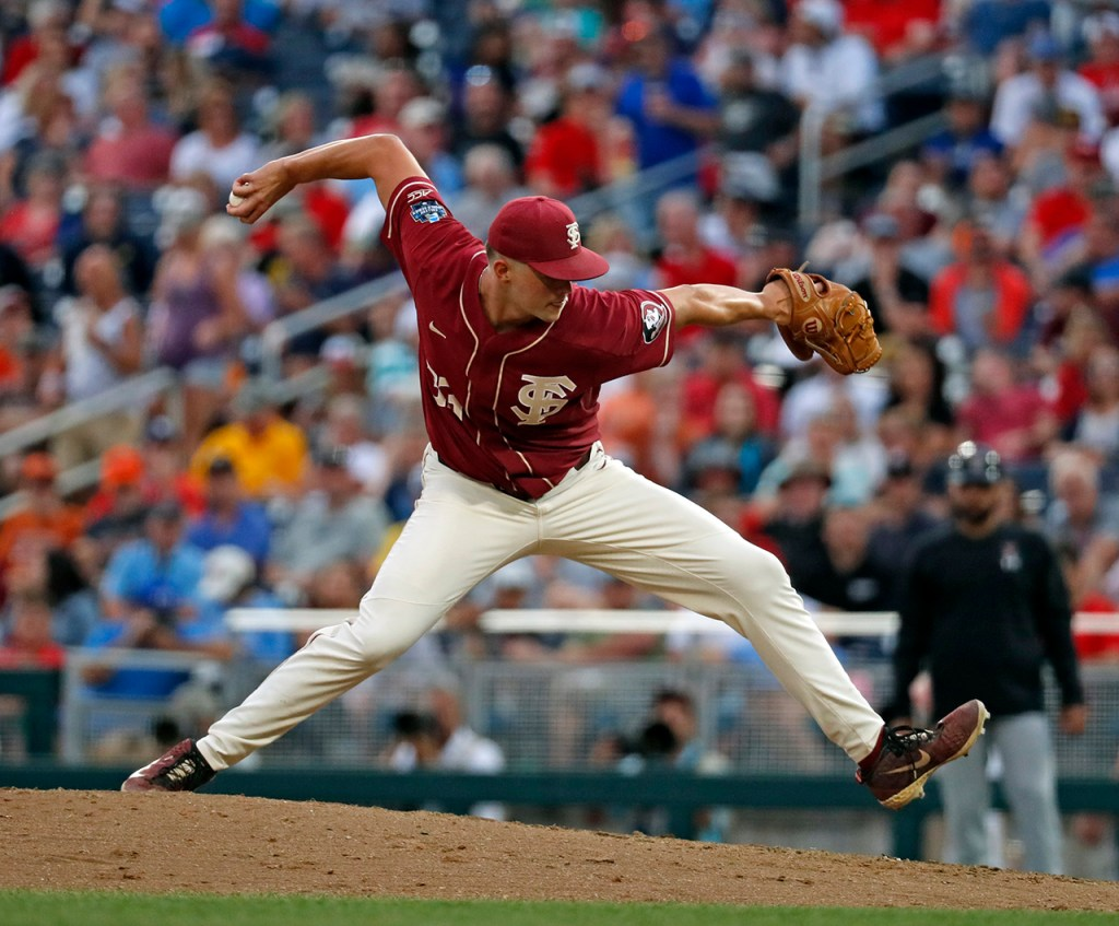 Florida State's Chase Haney (33) pitches the ball during the College World Series game against Texas Tech, Wednesday, June 19, 2019, at TD Ameritrade Park in Omaha, Neb. [Brad Tollefson/A-J Media]