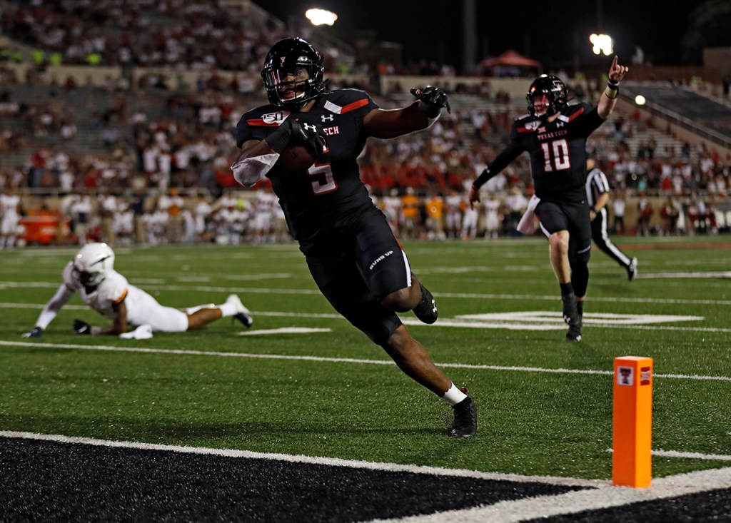 Texas Tech's Armand Shyne (5) scores a touchdown during the second half of the NCAA college football game against UTEP, Saturday, Sept. 7, 2019, in Lubbock, Texas. [Brad Tollefson/A-J Media]