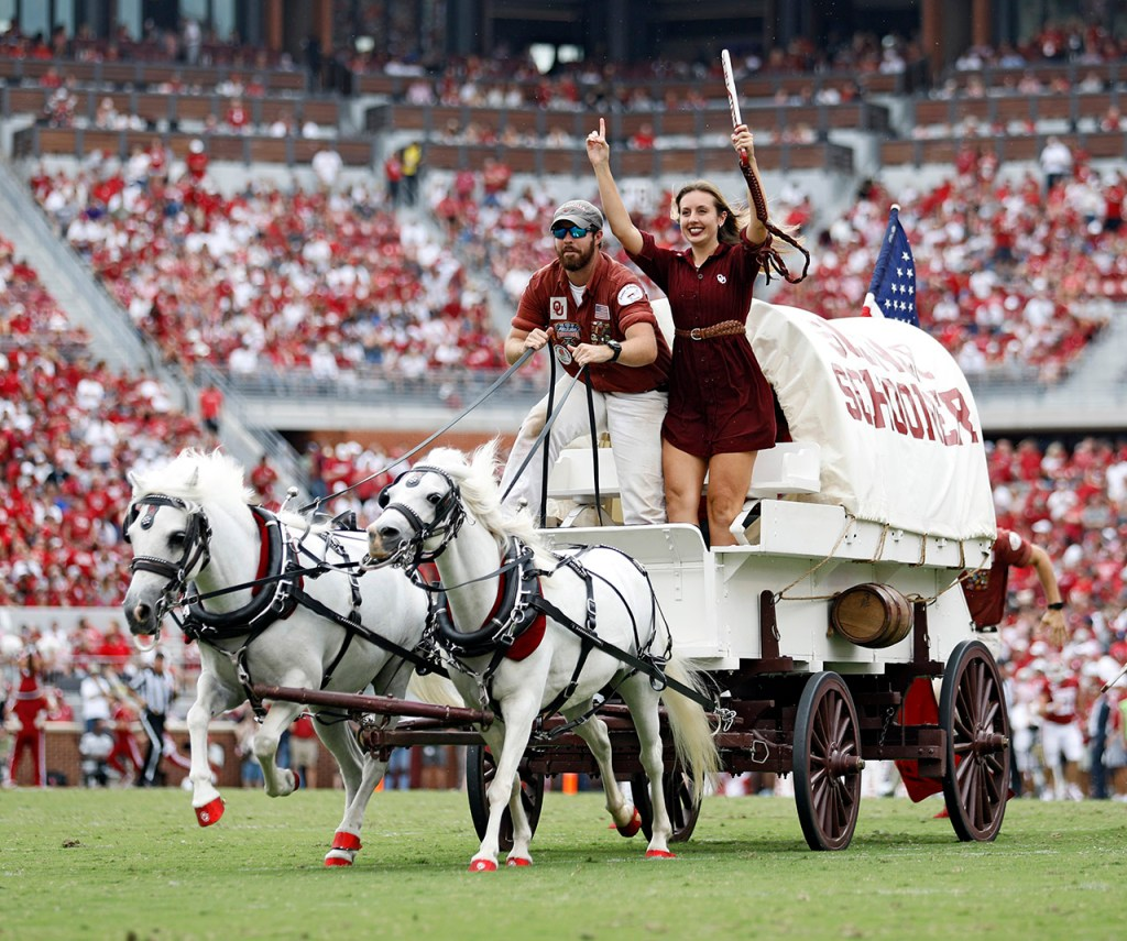The Oklahoma Rufneks ride the Sooner Schooner after a touchdown during the game against Texas Tech, Saturday, Sept. 28, 2019, at Gaylord Memorial Stadium in Norman, Okla. [Brad Tollefson/A-J Media]