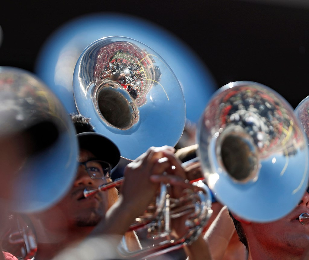 The Goin' Band performs during the game against Oklahoma State, Saturday, Oct. 5, 2019, in Lubbock, Texas. (AP Photo/Brad Tollefson)