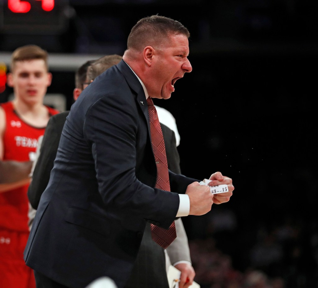 Texas Tech coach Chris Beard celebrates after his team extended the lead during the second half of the Jimmy V Classic game Tuesday, Dec. 10, 2019, at Madison Square Garden in New York, N.Y. [Brad Tollefson/A-J Media]