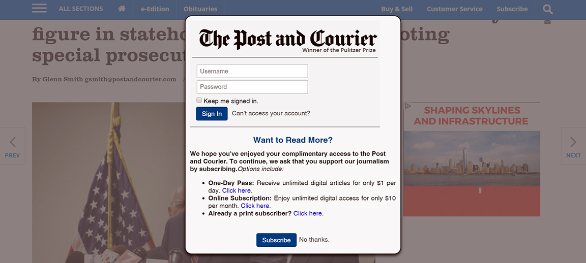 OK, I'm getting sick and tired of these paywalls | bradwarthen com
