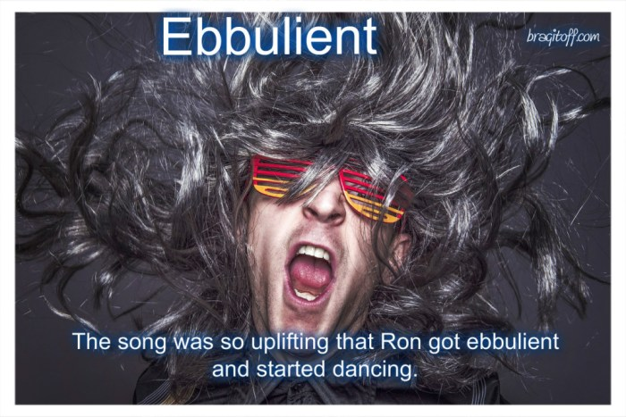 image sentence: The song was so uplifting that Ron got ebullient and started dancing.