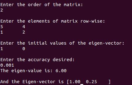 Eigen Value and Eigen Vector of a matrix by Iterative Method