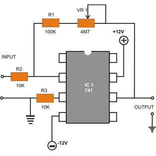 OP-AMP 741 IC PIN DIAGRAM (Operational Amplifier