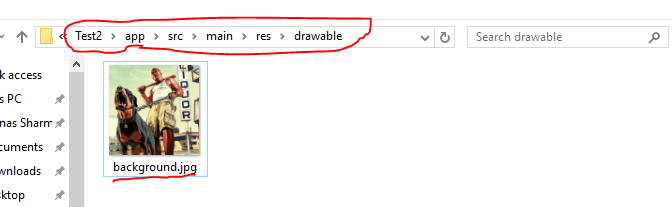 Location of the drawable folder