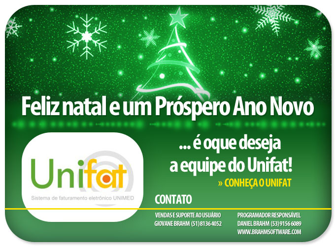 Newsletter Feliz Natal e Próspero Ano Novo para UNIFAT - Faturamento Eletrônico UNIMED
