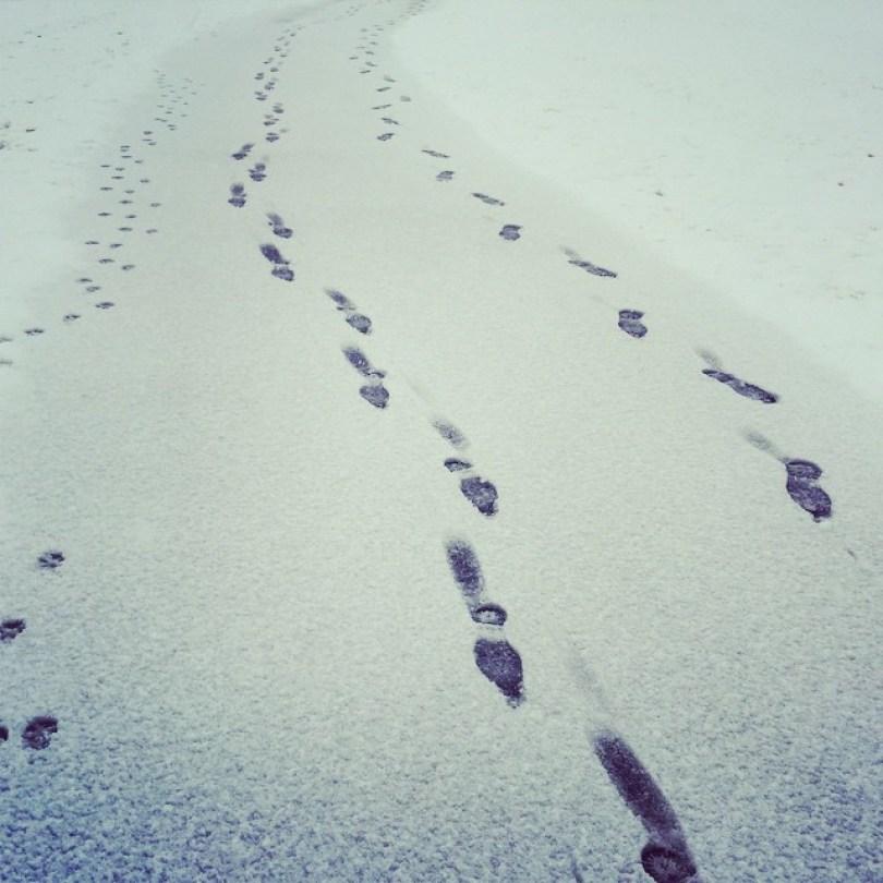 Snow footprints.