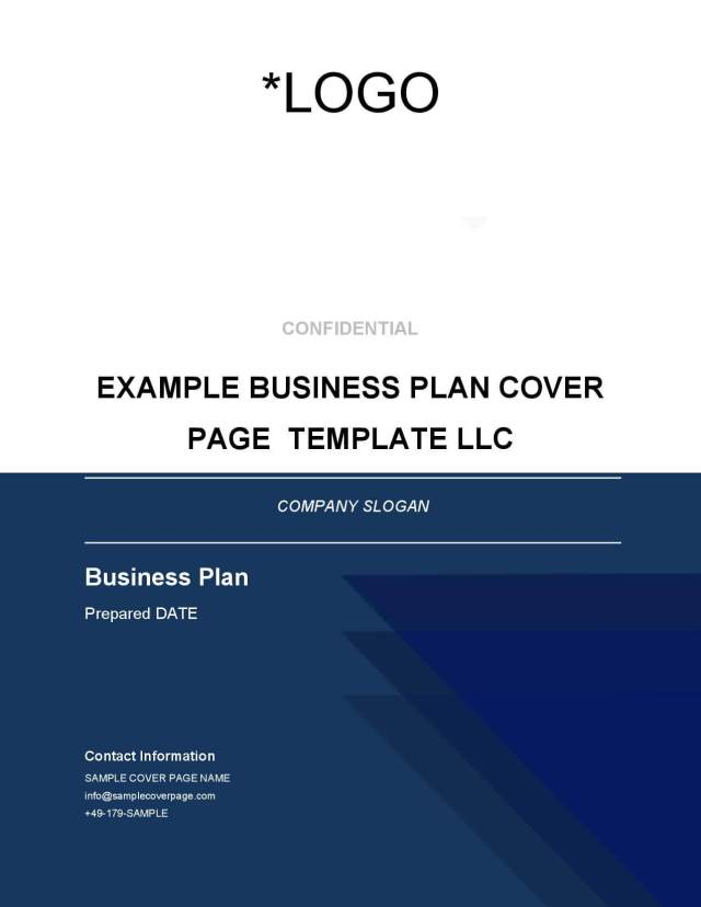 Business Plan Cover Page Template - BrainHive Business Planning
