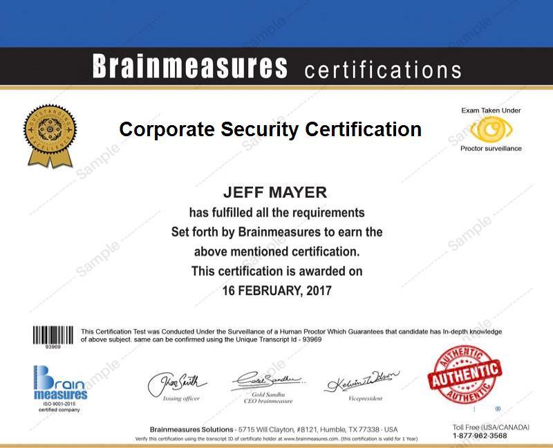 Corporate Security Certification Usd 85 L Course L Training