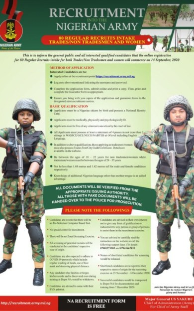 2020 Nigerian Army Recruitment Is Ongoing