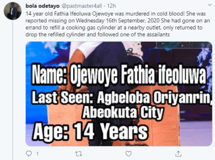 Missing 14 year-old Girl Found Raped And Murdered In Ogun State