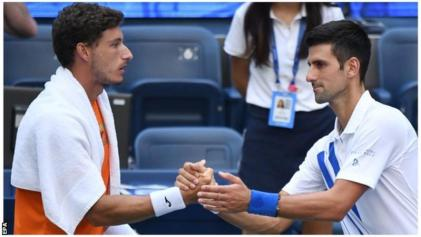 Novak Djokovic Disqualified After Hitting Ball At Line Judge