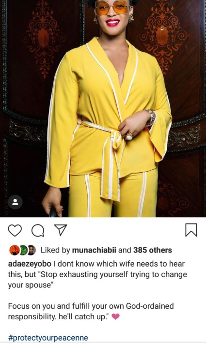 Read Adaeze Yobo Advise To Wives Who Are Trying To Change Their Husbands