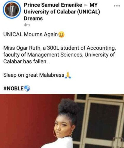 Beautiful UNICAL Student Dies In Her Sleep Ahead Of Her Wedding