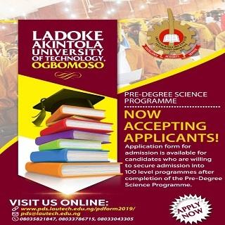 Complete Guide For LAUTECH 2020/2021 Pre-Degree Science Programme