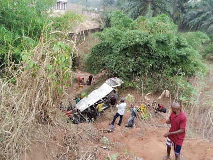 Passengers Survive As Vehicle Veers Off Owerri-Onitsha Road And Plunges Into Valley