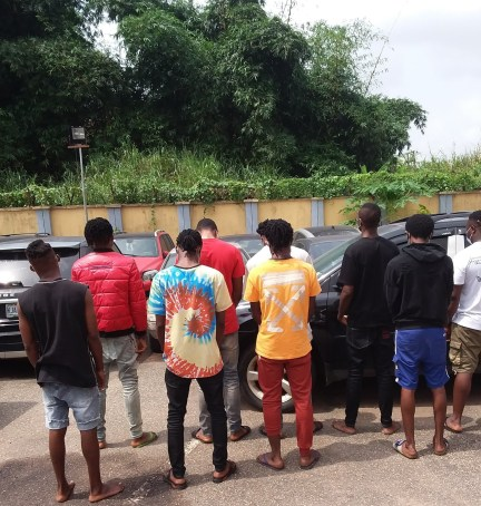 See Photo As 9 Suspected Internet Fraudsters Are Arrested In Benin City