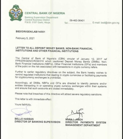 Why CBN Shut Down Cryptocurrency Exchange Bank Accounts