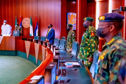 President Buhari Meets Military Chiefs Before His Medical Trip To UK