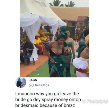 Watch The Moment Bridesmaid's Br-ea-st Toke Centre Stage Causing Guest To Spray Money On Her Instead Of On Bride