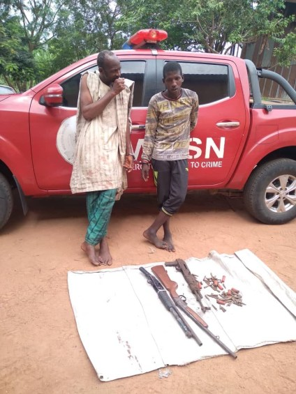See Photo As Amotekun Arrests 2 Suspected Bandits With AK-47, Pump-Action Guns In Oyo