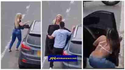 Woman Catches Her Man Banging Another Woman In Car On The Roadside