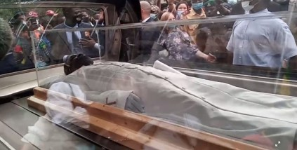 See Photos As TB Joshua's Body Arrives Synagogue Church For Lying-In-State