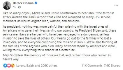 Former US President, Barack Obama Reacts To Afghanistan Terror Attacks