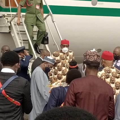 More Photos, Video As President Buhari Lands In Imo State