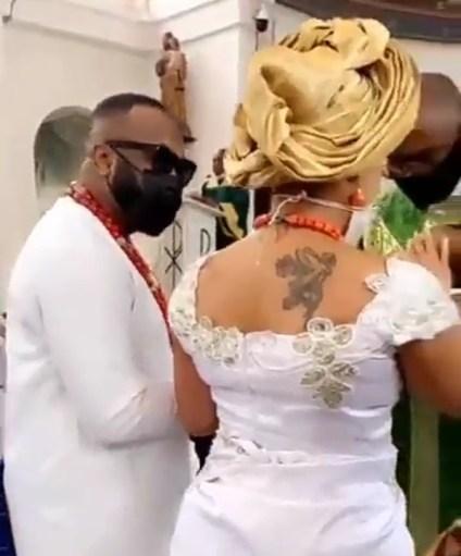 Olakunle Churchill, Wife Rosy Meurer Dedicate Son In Church