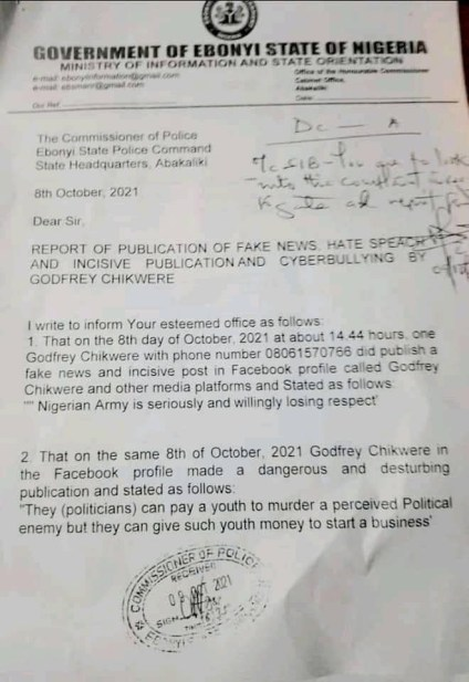 See Photos As Ebonyi Gov, David Umahi Orders Arrest Of Journalist Over Alleged 'Fake And Incisive' Facebook Post