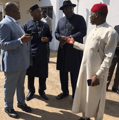Caption This Photo Of Four PDP Governors Wike, Okowa, Udom And Seriake