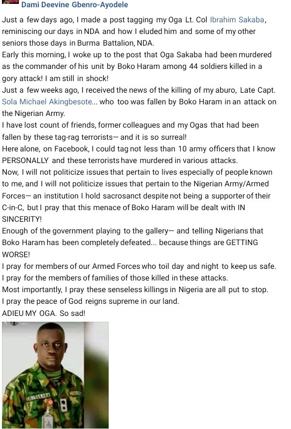 44 Soldiers Killed By Boko Haram Terrorists - Lt. Col. Ibrahim Sakaba Identified As One Of The Victims
