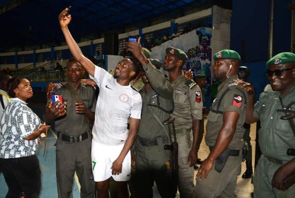 Ahmed Musa Takes A Selfie With Security Men