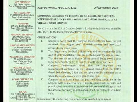 Resident Doctors Of UCTH To Emback On A Warning Strike