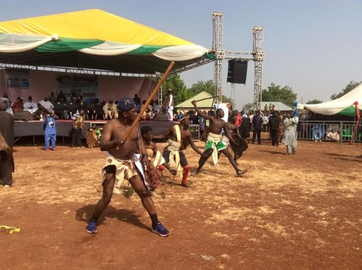 Sports' Minster, Dalung Strips To His Underwear To Attend Cultural Carnival In Plateau