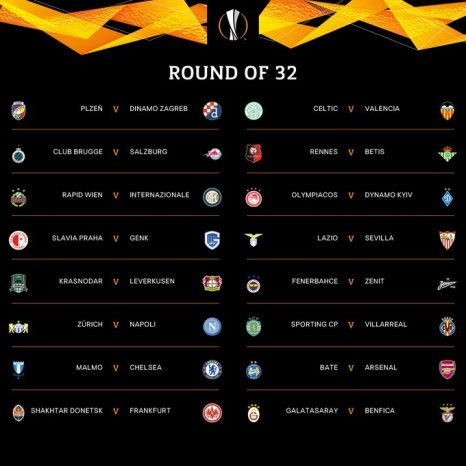 UEFA Europa League Round Of 32 Draws