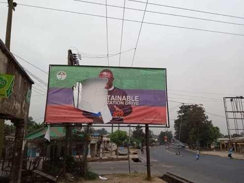 Ayade's Billboard Destroy In Cross River Ahead Of 2019 Polls