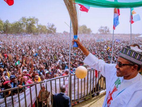 Buhari's Campaign Rally With Massive Crowd In Sokoto Stadium
