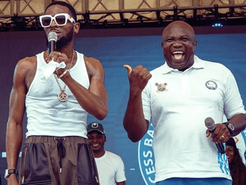 Caption This Photo Of Governor Ambode And Dbanj On Stage